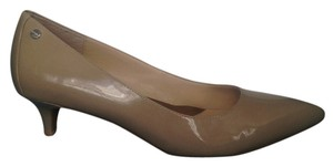 Calvin Klein Adobe Leather Nude Patent Pumps