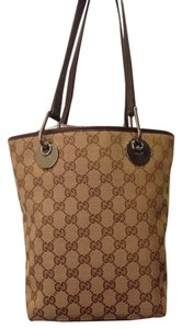 Gucci Beige Brown Canvas Tote in Tan/Brown
