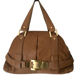 Michael Kors Collection Gold Hardware Leather Satchel in Brown