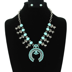 Tibet Silver And Turquoise Squash Blossom Jewelry Set Free Shipping