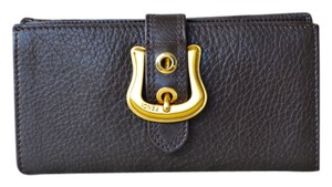 Fendi Fendi Brown Leather Gold B Buckle Long Bifold Wallet