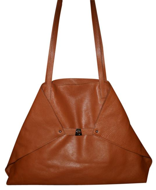 Item - Ai Large Foldover Trapezoid Shoulder Shopper Brown Leather Tote