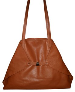 Akris Tote in Brown Ai Large Foldover Trapezoid Shoulder Shopper Brown Leather Tote