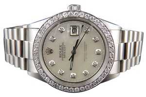 Rolex Mens Stainless Steel Rolex Datejust Presidential MOP Watch 2.50 Ct