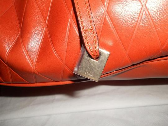 Chloé Tote in Charlie Large Diamond Crossbody Bucket Shopper Terracota Leather Tote Image 8