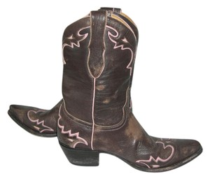 Old Gringo Cowgirl 8.5 Brown Distressed Leather Chocolate/Pink Boots