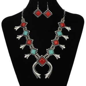 2 Tone Antiqued Silver Red & Blue Turquoise Squash Blossom Jewelry Set