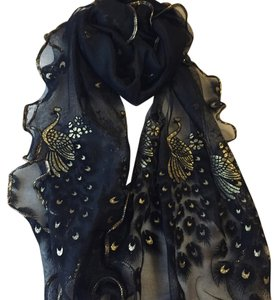 Other Black Peacock Chiffon Scarf