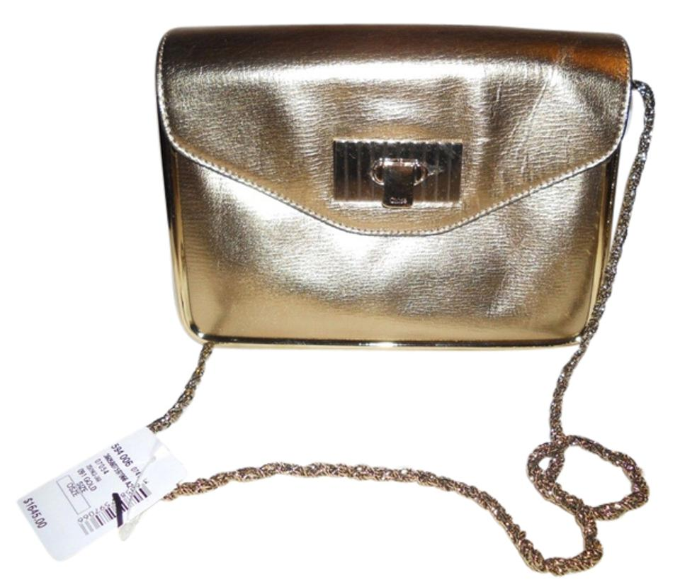 09cce0f7e89 Chloé Sally Metallic Flap Chain Framed Clutch Gold Leather Shoulder ...