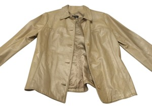 BCBGMAXAZRIA gold Leather Jacket