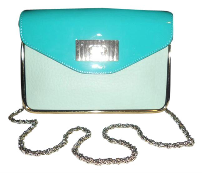 Item - Chain Clutch Sally Two Tone Colorblock Patent Flap Green Leather Shoulder Bag