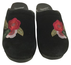 Dansko Padded Insoles Black suede leather embroidered flowers backless E36 Mules