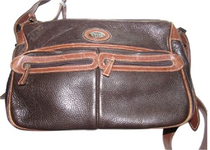 Gucci Mint Vintage Satchel in dark brown textured and caramel smooth leather