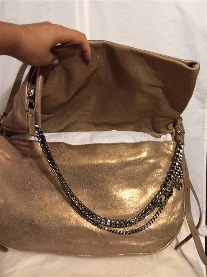 74b34a7a1c6 Jimmy Choo Biker Frappe Metallic Chains Foldover Gold Leather Shoulder Bag  - Tradesy