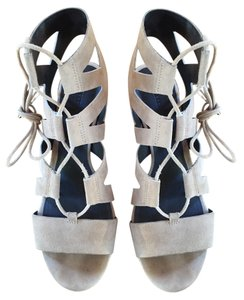 Rebecca Minkoff Suede Ankle Strap Strappy Gladiator Chunky taupe Sandals