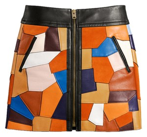 Coach Leather Suede Patchwork Skirt Multi
