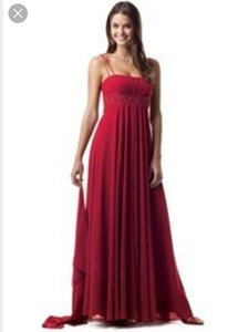 David's Bridal Red F12495 Dress