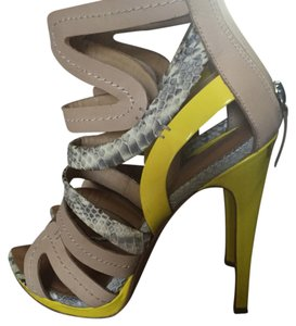 L.A.M.B. yellow and tan Sandals