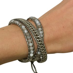 Chan Luu Grey/Silver Leather and Gemstone Three Wrap Bracelet