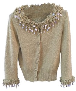 Anthropologie Embellished Seashell Boho Textured Crochet Sweater