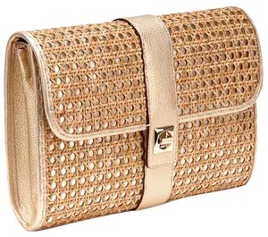 Kate Spade Straw Wicker Tan & Gold Clutch