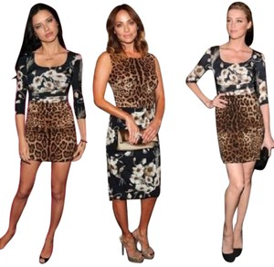 Dolce&Gabbana Dolce & Gabbana Cocktail Floral Leopard Dress