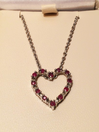 Rubies and White Gold Ruby Heart Shaped Necklace