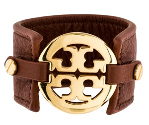 Tory Burch Brown Leather Tory Burch gold tone Reva Logo Cuff Bracelet