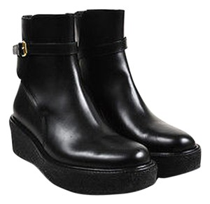 Céline Leather Buckled Platform Ankle Black Boots