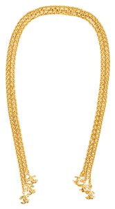 Chanel Vintage Chanel 94p Gold Tone Three Strand Link Chain Cc Charm Lariat Necklace
