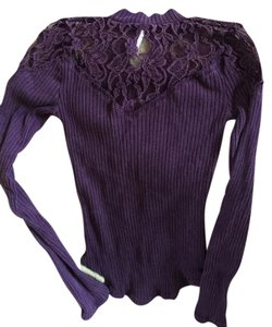 Free People Prudence Mock Neck Xs Reverse For New Look Plum Sweater