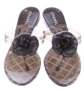 Chanel Jelly Camellia Black, Gold Sandals