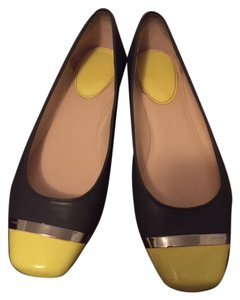Calvin Klein Two-tone Flat Leather Acid Yellow and Grey Flats