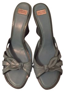 Arturo Chiang Leather Two-tone Blue and Teal Wedges