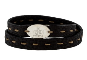 Fendi Black Leather Fendi Selleria silver tone logo wrap bracelet
