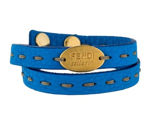 Fendi Blue leather Fendi Selleria gold tone logo wrap bracelet