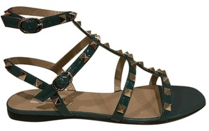 Valentino Rockstud Studded Ankle Strap Ankle Patent green Sandals
