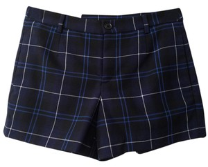 Uniqlo Plain Wool Check Layer Winter Dress Shorts Navy