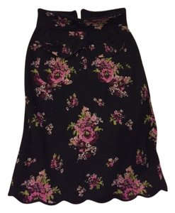 Anthropologie Vintage Classic Pencil Skirt Black & Floral
