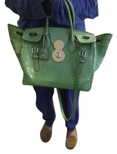 Ralph Lauren Alligator Ricky Jewel Satchel in Green