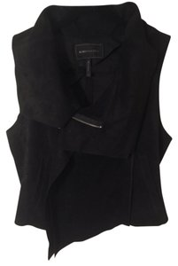BCBG Suede Crop Top Leather Vest