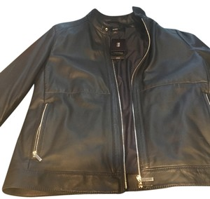 Hugo Boss Dark Blue Leather Jacket