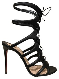 Christian Louboutin Amazoulo Stiletto Lace Ankle Strap Strappy black Pumps