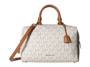 Michael Kors Kors Boston New Signature Satchel in Vanilla/Luggage
