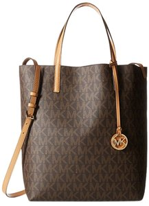 Michael Kors Leather Structured Tote in Brown