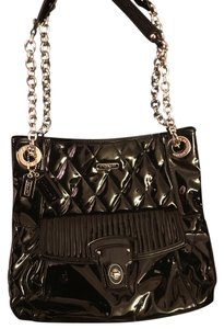 Coach Patent Leather Pink Lining Tote in Black