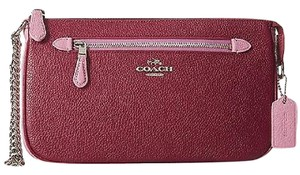 Coach 65015 Cyclamen Marshmellow Pebbled Leather Nolita Wristlet Baguette