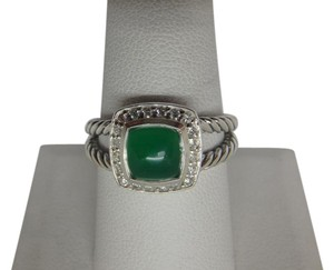David Yurman Petite Albion Ring with Green Onyx and Diamonds size 8 w/pouch