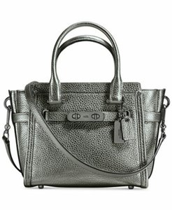 Coach Leather Rare Swagger 21 Satchel in Metallic silver