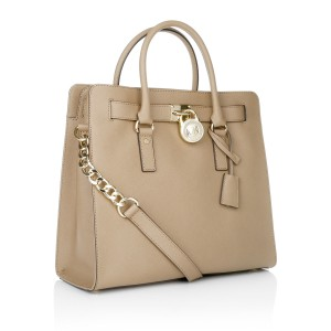Michael Kors Mk Large Hamilton Tote in Tan Brown Dark Khaki/Gold Tone Hardware